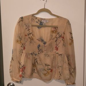 Blush silk floral intermix blouse
